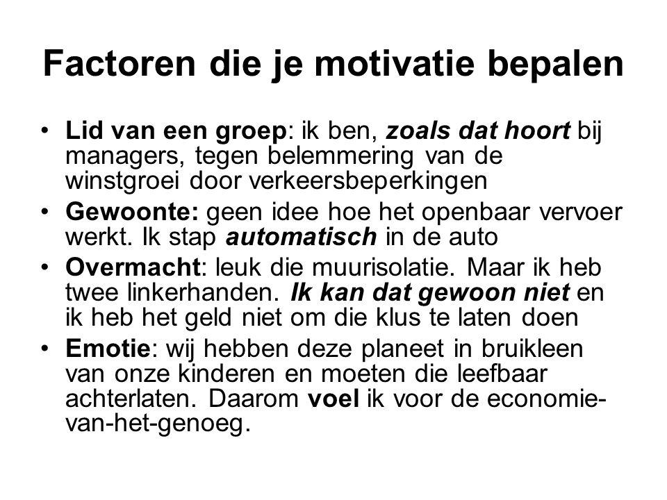 Factoren die je motivatie bepalen Lid van een groep: ik ben, zoals dat hoort bij managers, tegen belemmering van de winstgroei door verkeersbeperkingen Gewoonte: geen idee hoe het openbaar vervoer werkt.