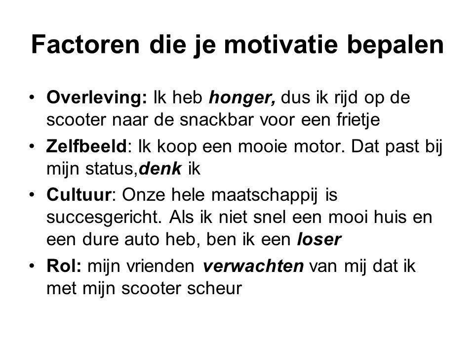 Factoren die je motivatie bepalen Overleving: Ik heb honger, dus ik rijd op de scooter naar de snackbar voor een frietje Zelfbeeld: Ik koop een mooie