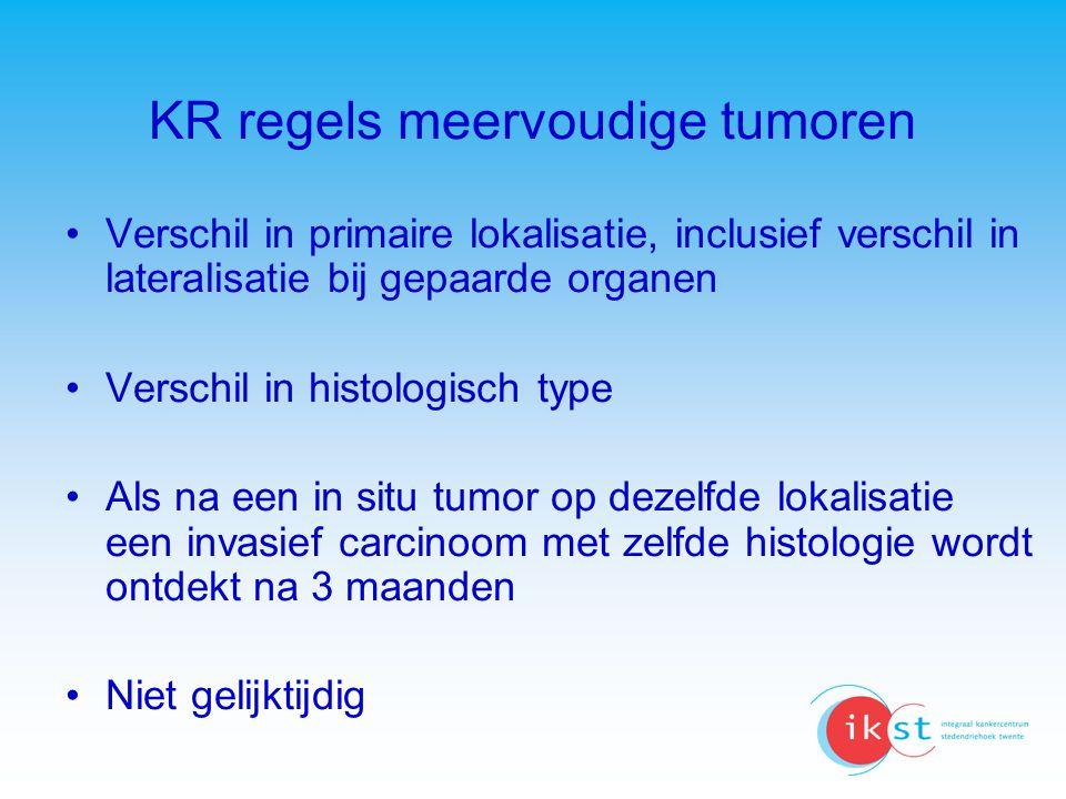 KR regels meervoudige tumoren Verschil in primaire lokalisatie, inclusief verschil in lateralisatie bij gepaarde organen Verschil in histologisch type