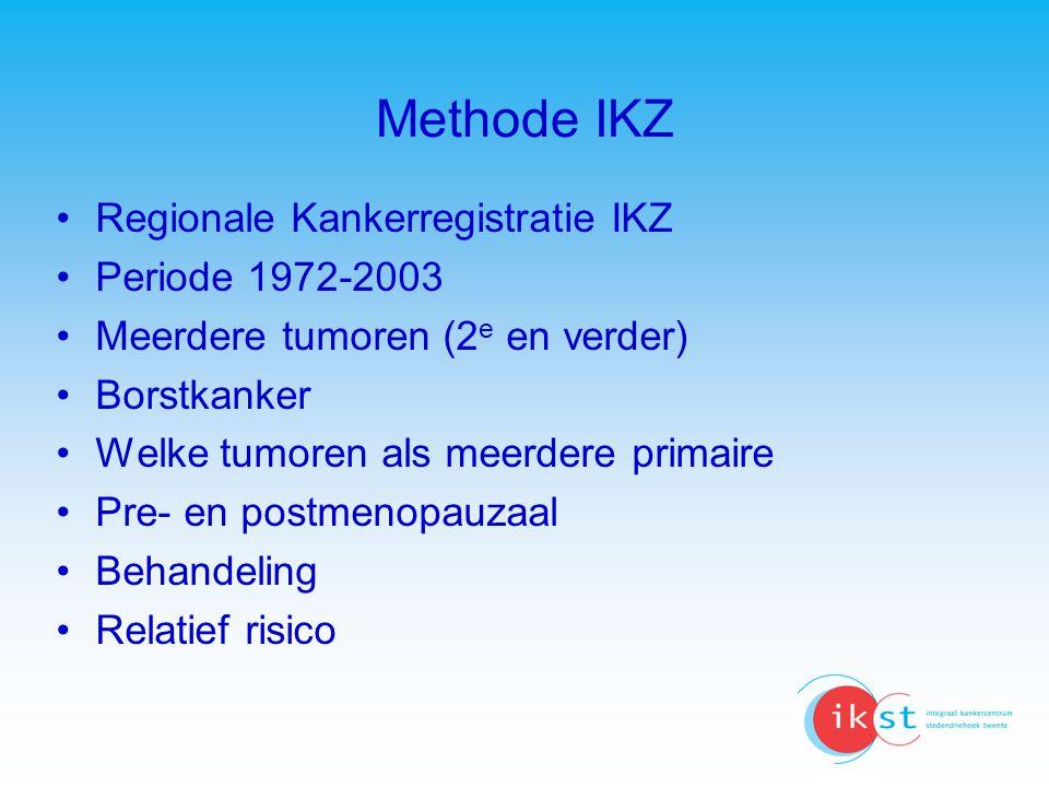 Methode IKZ Regionale Kankerregistratie IKZ Periode 1972-2003 Meerdere tumoren (2 e en verder) Borstkanker Welke tumoren als meerdere primaire Pre- en