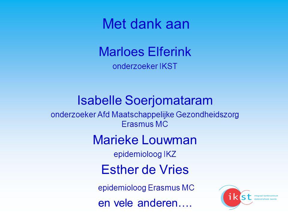 Met dank aan Marloes Elferink onderzoeker IKST Isabelle Soerjomataram onderzoeker Afd Maatschappelijke Gezondheidszorg Erasmus MC Marieke Louwman epid