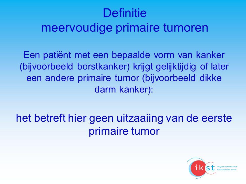 Vrouwelijke tumoren 1 e tumor Aantal patienten Aantal (%) meerdere tumoren Gem leeftijd bij eerste tumor Gem tijd tussen tumoren Totaal 6996564749,3 Borst 11765120310,2 623,6 Baarmoeder 15761257,9653,5 Baarmoederhals 625 375,9 563,8 Eierstok 1408725,1583,4
