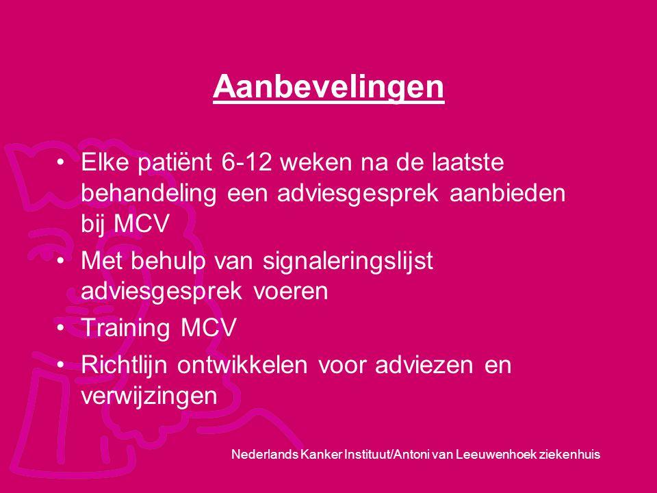 Nederlands Kanker Instituut/Antoni van Leeuwenhoek ziekenhuis Aanbevelingen Elke patiënt 6-12 weken na de laatste behandeling een adviesgesprek aanbie
