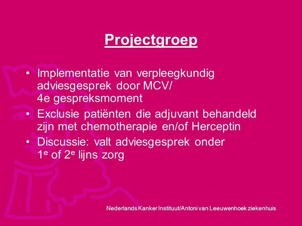 Nederlands Kanker Instituut/Antoni van Leeuwenhoek ziekenhuis Projectgroep Implementatie van verpleegkundig adviesgesprek door MCV/ 4e gespreksmoment