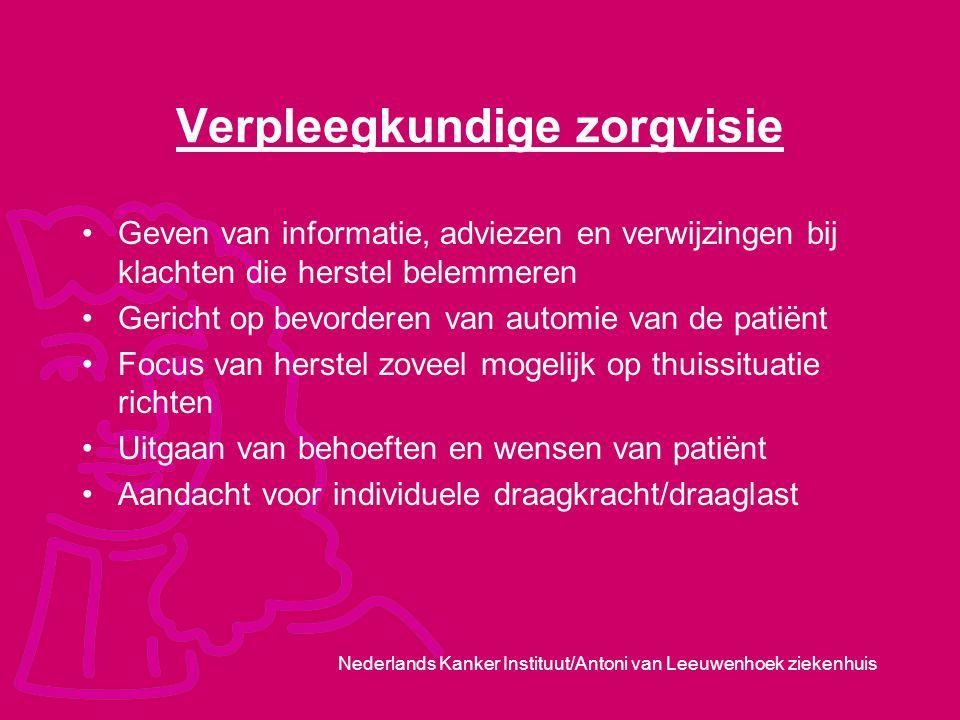 Nederlands Kanker Instituut/Antoni van Leeuwenhoek ziekenhuis Verpleegkundige zorgvisie Geven van informatie, adviezen en verwijzingen bij klachten di