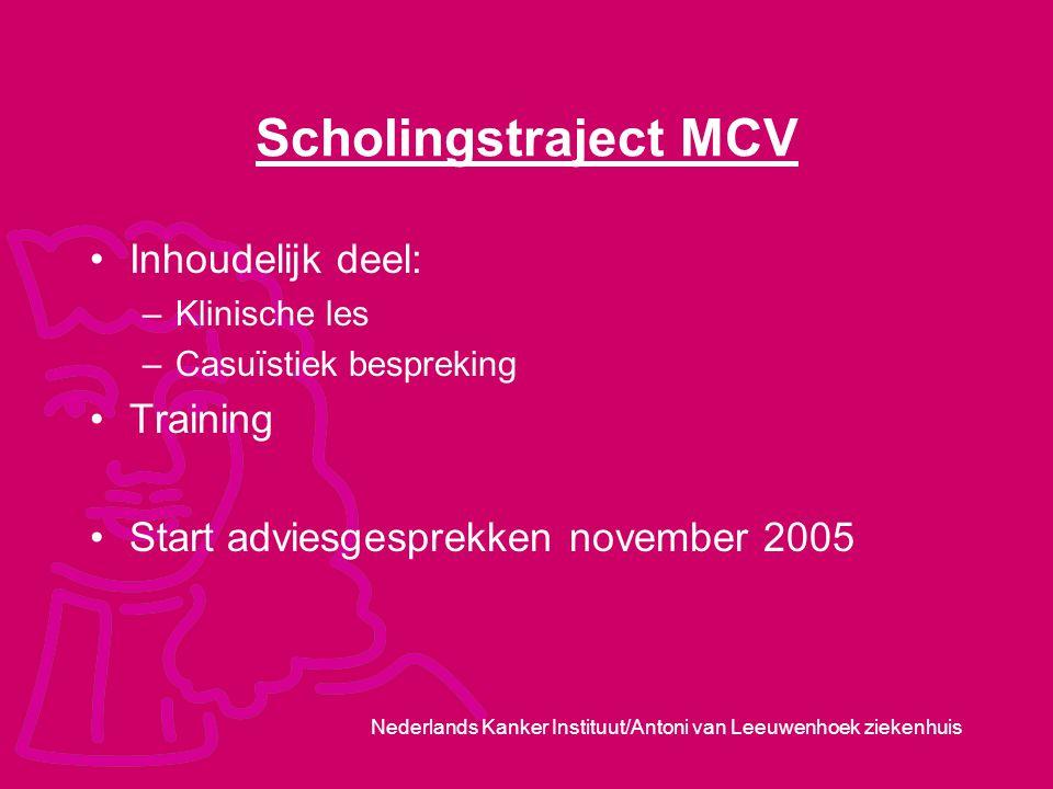 Nederlands Kanker Instituut/Antoni van Leeuwenhoek ziekenhuis Scholingstraject MCV Inhoudelijk deel: –Klinische les –Casuїstiek bespreking Training St