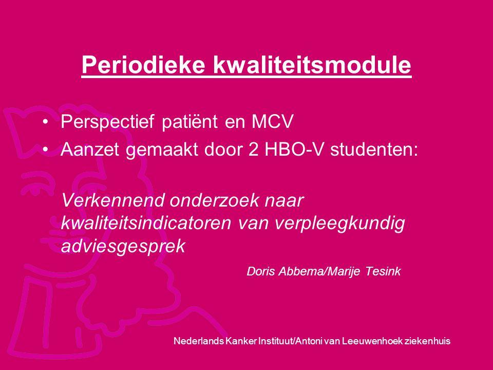 Nederlands Kanker Instituut/Antoni van Leeuwenhoek ziekenhuis Periodieke kwaliteitsmodule Perspectief patiënt en MCV Aanzet gemaakt door 2 HBO-V stude