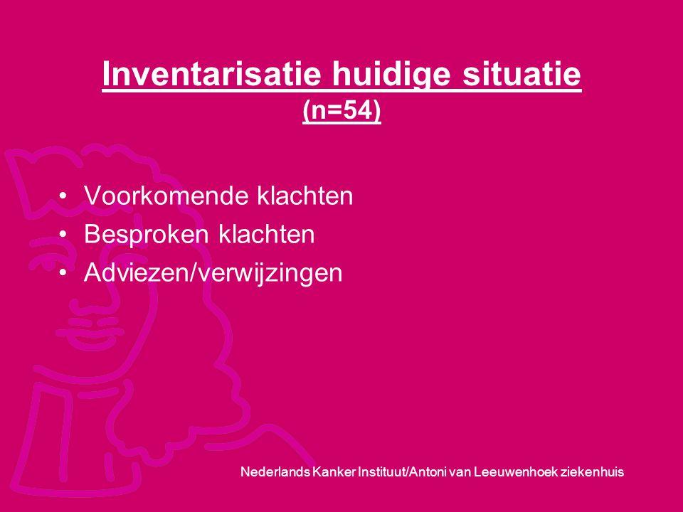 Nederlands Kanker Instituut/Antoni van Leeuwenhoek ziekenhuis Inventarisatie huidige situatie (n=54) Voorkomende klachten Besproken klachten Adviezen/