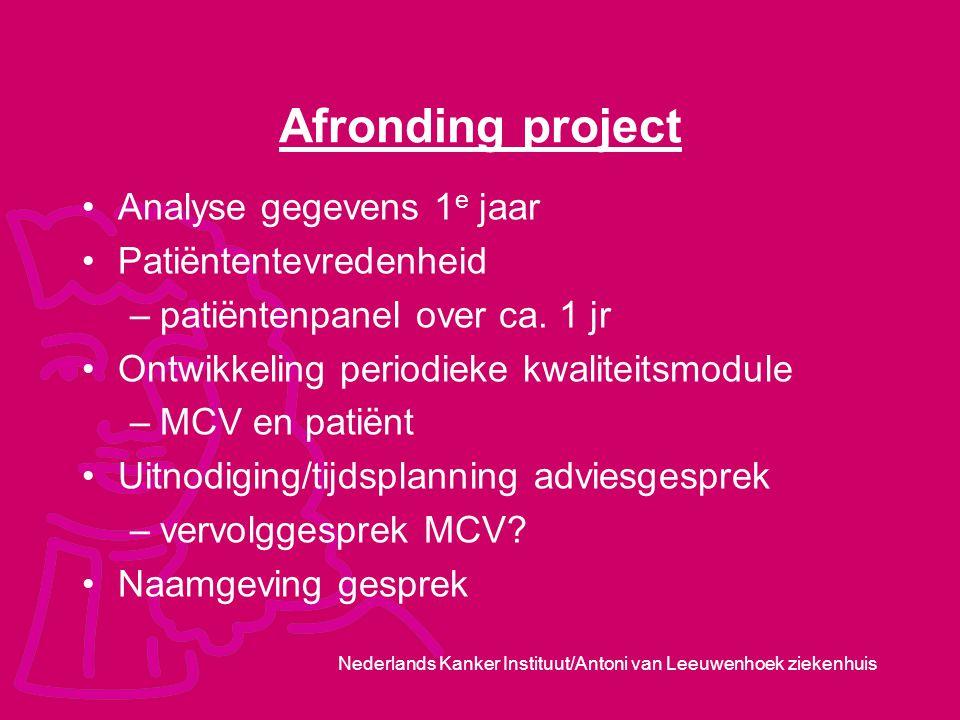 Nederlands Kanker Instituut/Antoni van Leeuwenhoek ziekenhuis Afronding project Analyse gegevens 1 e jaar Patiëntentevredenheid –patiëntenpanel over c