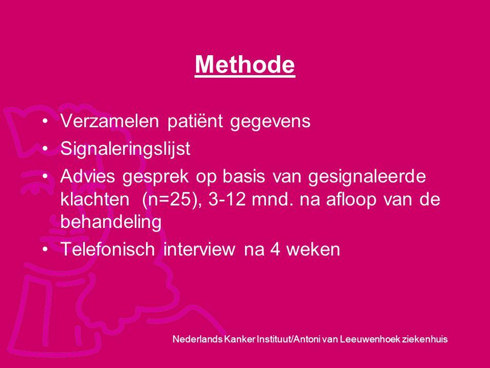 Nederlands Kanker Instituut/Antoni van Leeuwenhoek ziekenhuis Methode Verzamelen patiënt gegevens Signaleringslijst Advies gesprek op basis van gesign