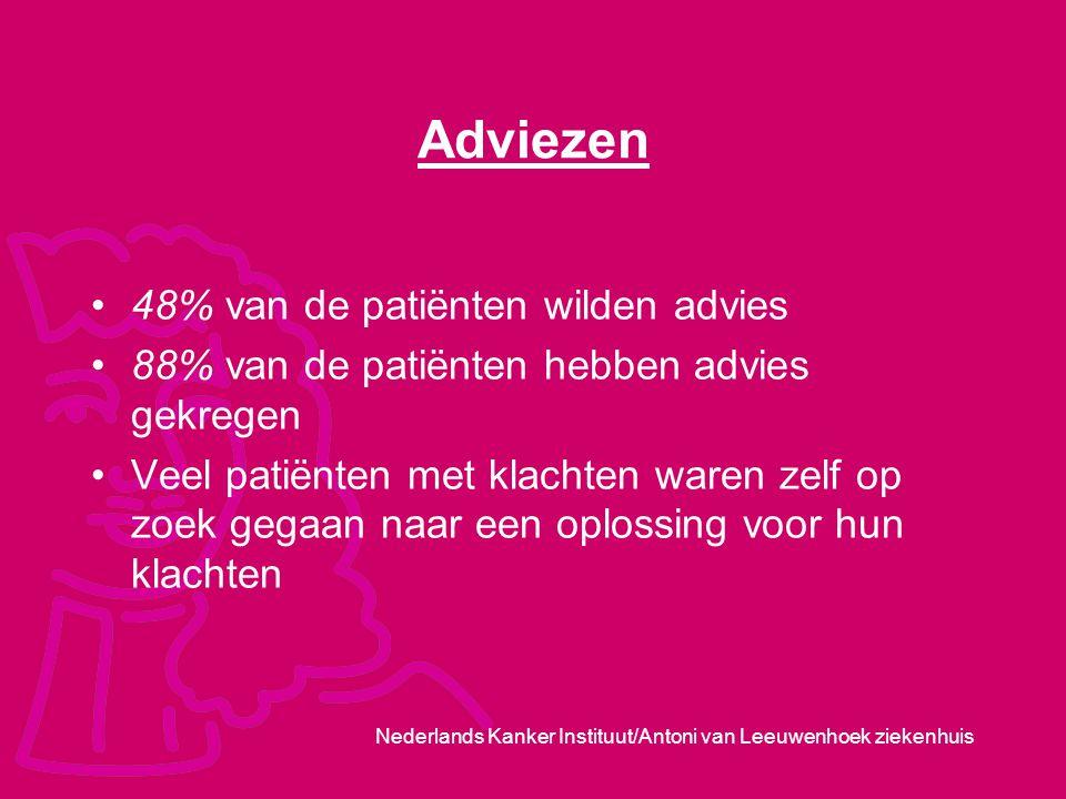 Nederlands Kanker Instituut/Antoni van Leeuwenhoek ziekenhuis Adviezen 48% van de patiënten wilden advies 88% van de patiënten hebben advies gekregen