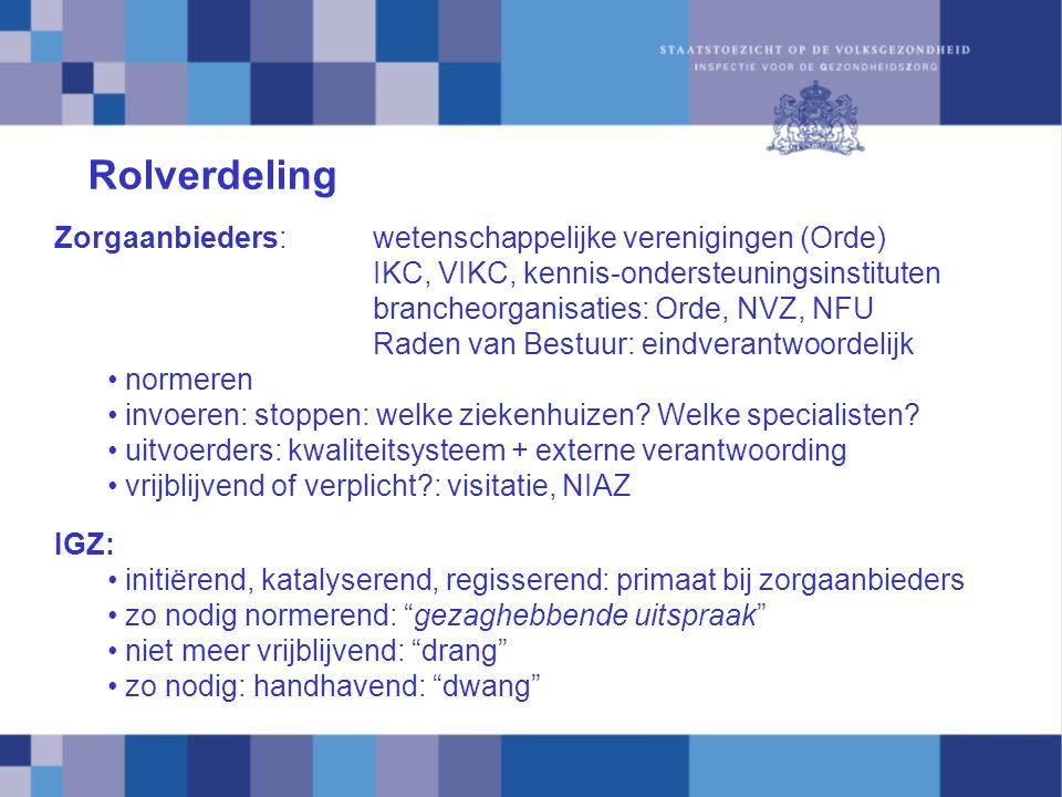 Rolverdeling Zorgaanbieders:wetenschappelijke verenigingen (Orde) IKC, VIKC, kennis-ondersteuningsinstituten brancheorganisaties: Orde, NVZ, NFU Raden van Bestuur: eindverantwoordelijk normeren invoeren: stoppen: welke ziekenhuizen.