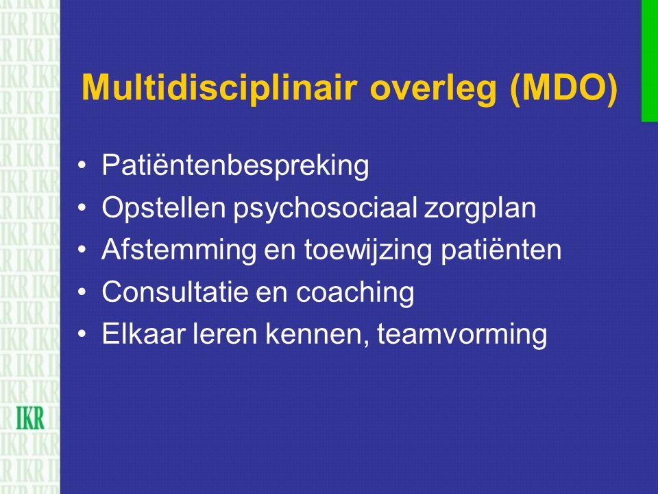 Multidisciplinair overleg (MDO) Patiëntenbespreking Opstellen psychosociaal zorgplan Afstemming en toewijzing patiënten Consultatie en coaching Elkaar