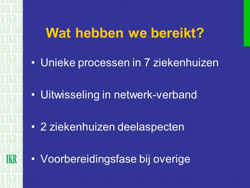 Wat hebben we bereikt? Unieke processen in 7 ziekenhuizen Uitwisseling in netwerk-verband 2 ziekenhuizen deelaspecten Voorbereidingsfase bij overige
