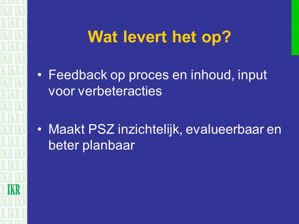 Wat levert het op? Feedback op proces en inhoud, input voor verbeteracties Maakt PSZ inzichtelijk, evalueerbaar en beter planbaar