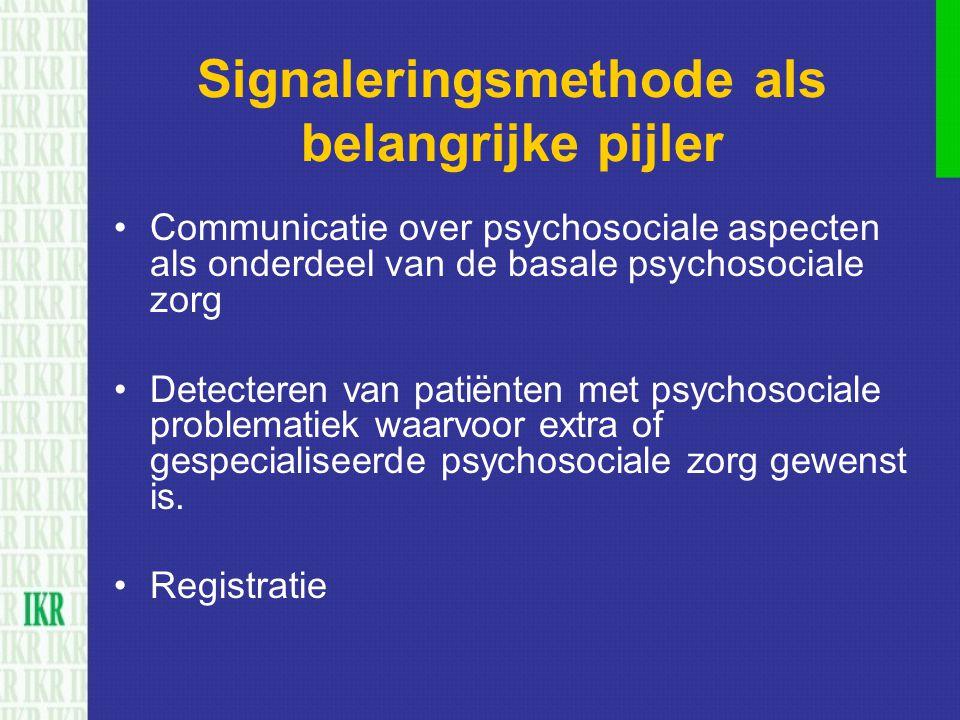 Signaleringsmethode als belangrijke pijler Communicatie over psychosociale aspecten als onderdeel van de basale psychosociale zorg Detecteren van pati