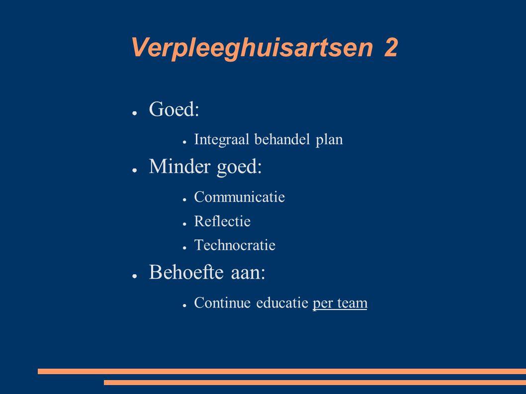 Verpleeghuisartsen 2 ● Goed: ● Integraal behandel plan ● Minder goed: ● Communicatie ● Reflectie ● Technocratie ● Behoefte aan: ● Continue educatie per team