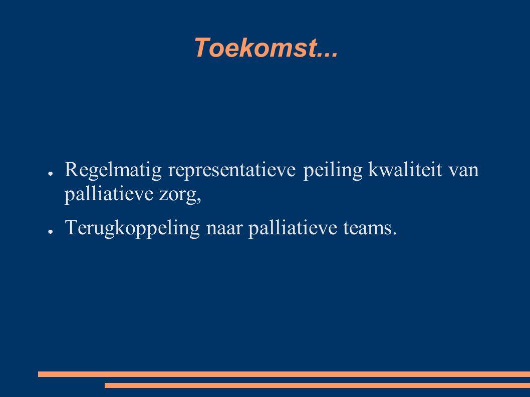 Toekomst... ● Regelmatig representatieve peiling kwaliteit van palliatieve zorg, ● Terugkoppeling naar palliatieve teams.