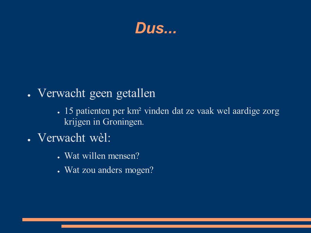 Dus... ● Verwacht geen getallen ● 15 patienten per km² vinden dat ze vaak wel aardige zorg krijgen in Groningen. ● Verwacht wèl: ● Wat willen mensen?