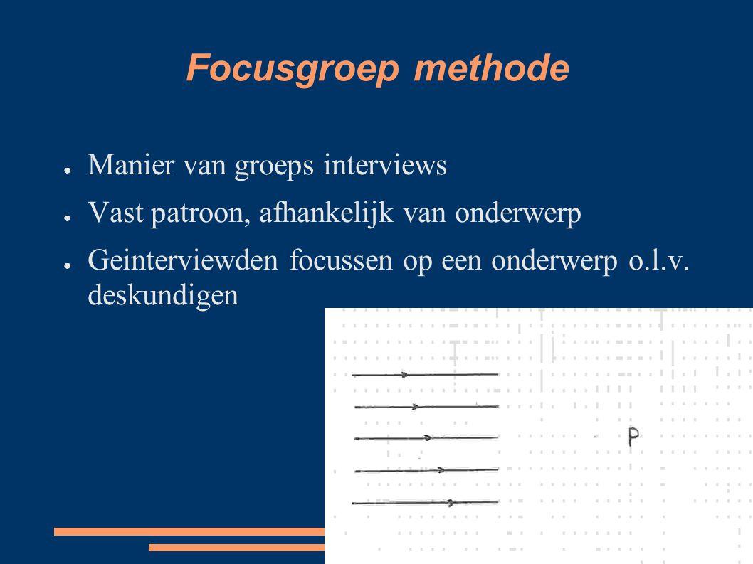 Focusgroep methode ● Manier van groeps interviews ● Vast patroon, afhankelijk van onderwerp ● Geinterviewden focussen op een onderwerp o.l.v. deskundi
