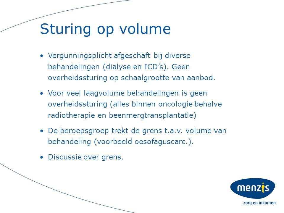 Sturing op volume Vergunningsplicht afgeschaft bij diverse behandelingen (dialyse en ICD's).