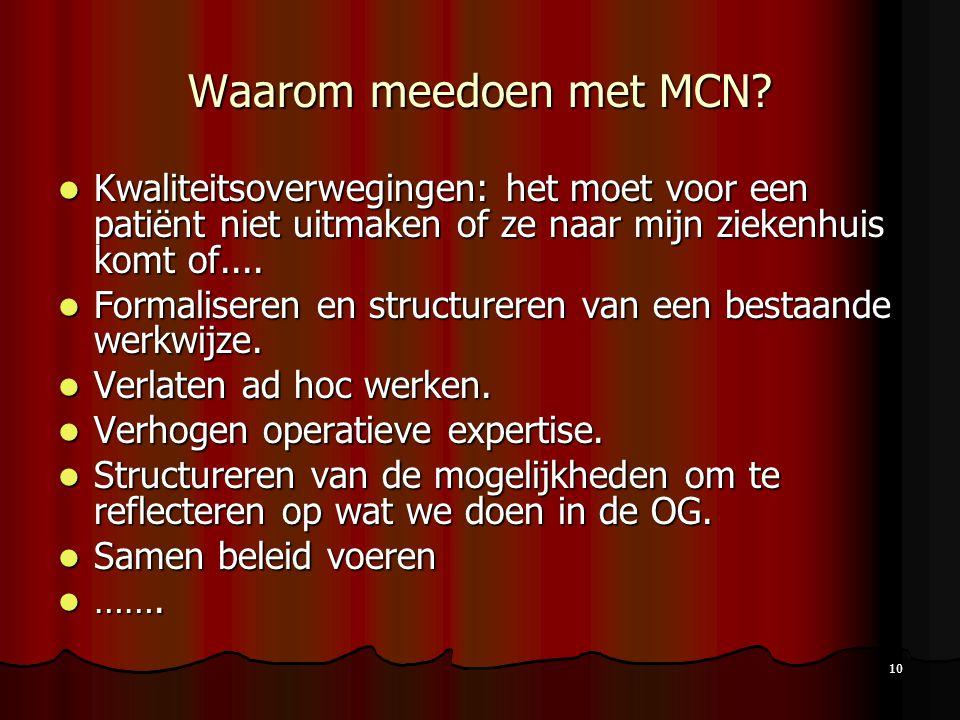 10 Waarom meedoen met MCN? Kwaliteitsoverwegingen: het moet voor een patiënt niet uitmaken of ze naar mijn ziekenhuis komt of.... Kwaliteitsoverweging