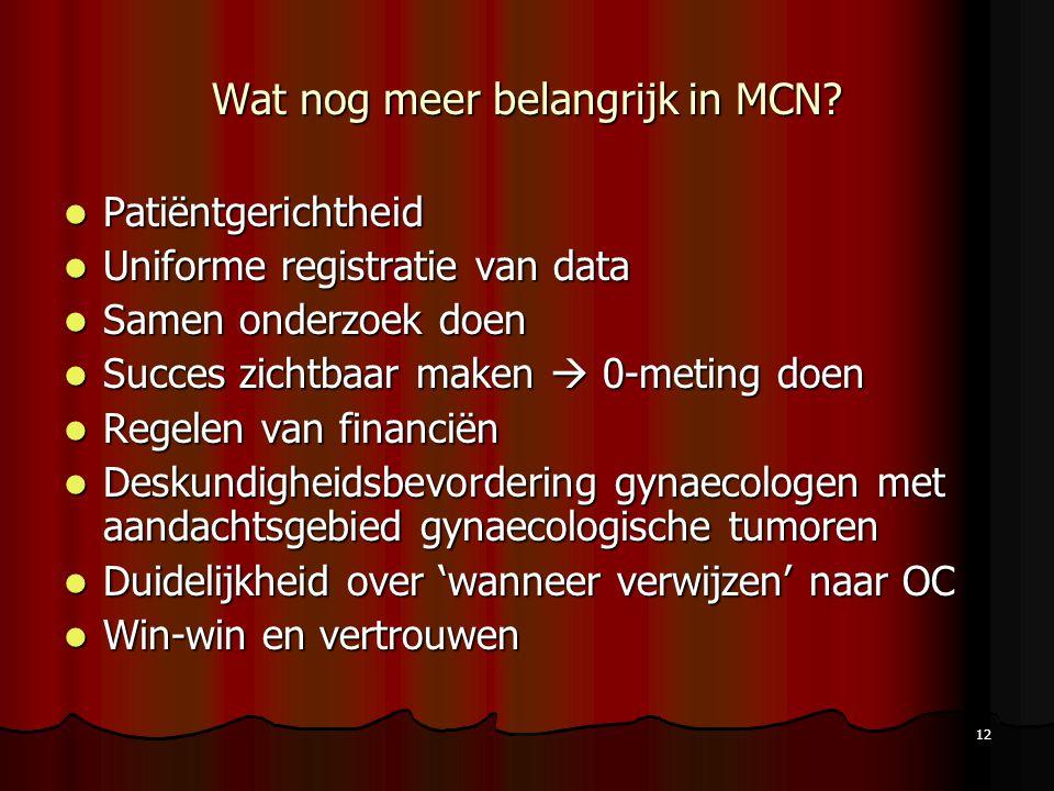 12 Wat nog meer belangrijk in MCN? Patiëntgerichtheid Patiëntgerichtheid Uniforme registratie van data Uniforme registratie van data Samen onderzoek d