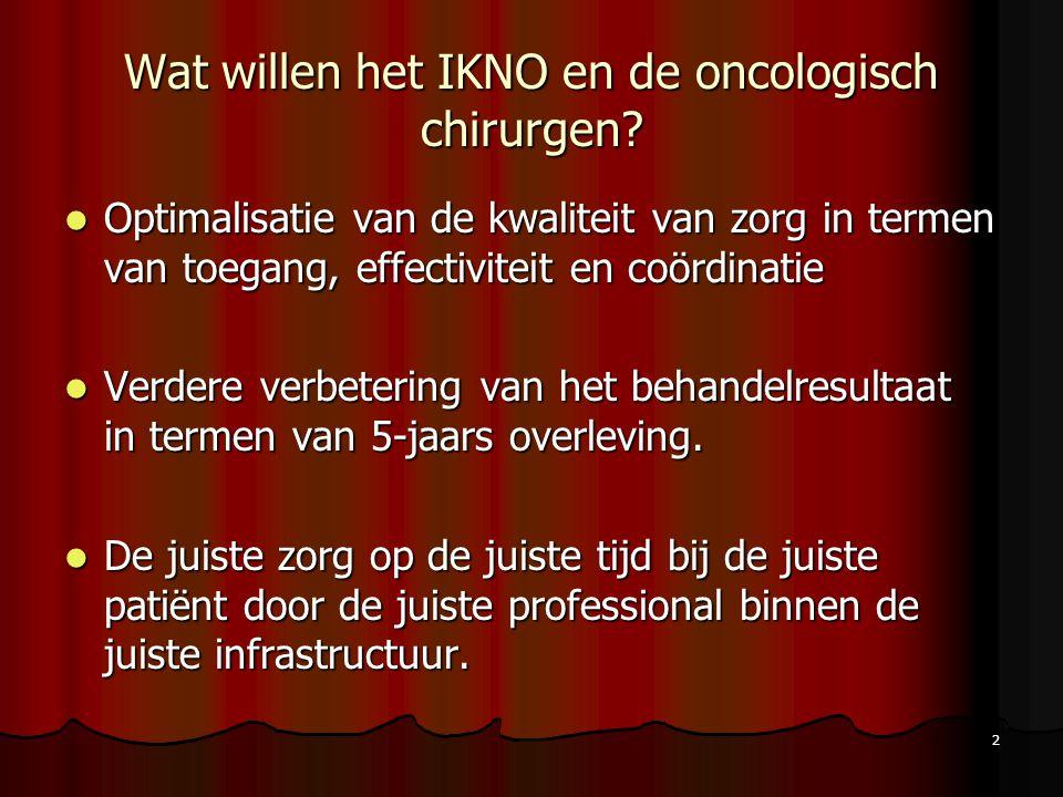 2 Wat willen het IKNO en de oncologisch chirurgen? Optimalisatie van de kwaliteit van zorg in termen van toegang, effectiviteit en coördinatie Optimal