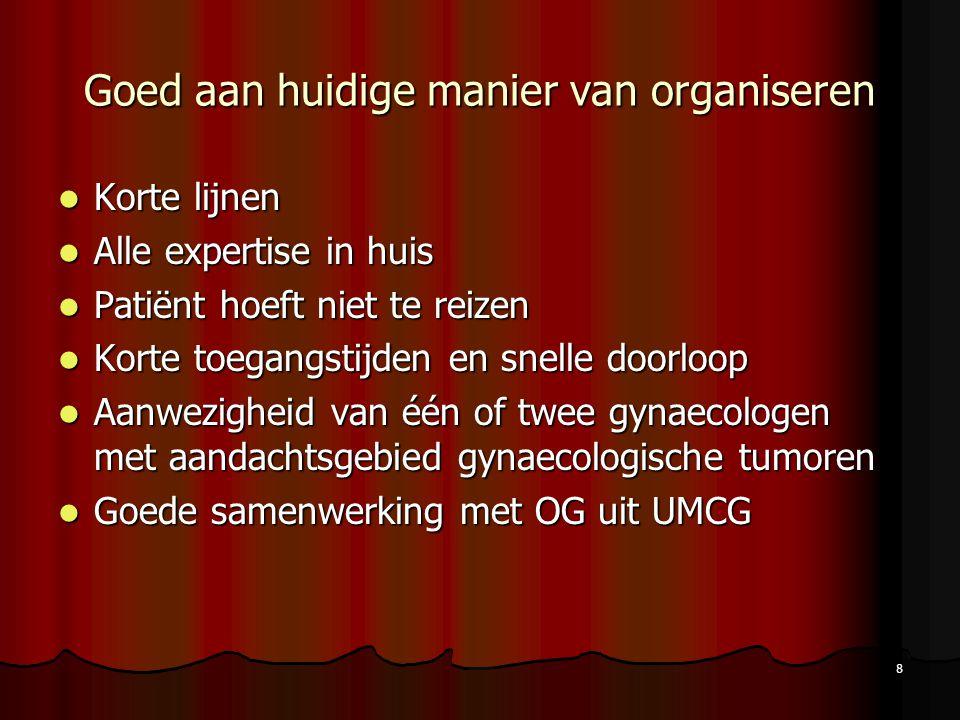 8 Goed aan huidige manier van organiseren Korte lijnen Korte lijnen Alle expertise in huis Alle expertise in huis Patiënt hoeft niet te reizen Patiënt