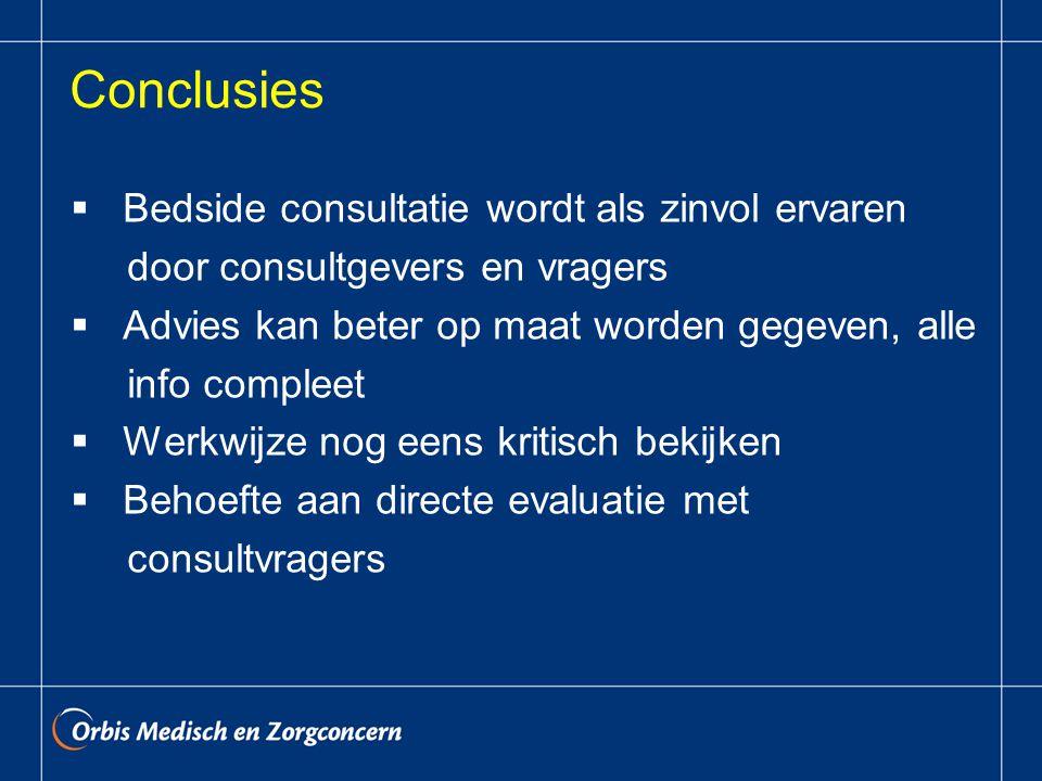 Conclusies  Bedside consultatie wordt als zinvol ervaren door consultgevers en vragers  Advies kan beter op maat worden gegeven, alle info compleet  Werkwijze nog eens kritisch bekijken  Behoefte aan directe evaluatie met consultvragers