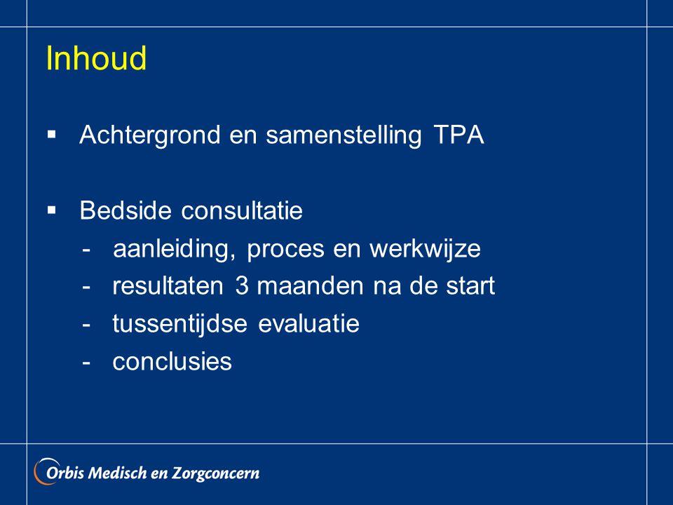 Inhoud  Achtergrond en samenstelling TPA  Bedside consultatie -aanleiding, proces en werkwijze - resultaten 3 maanden na de start - tussentijdse evaluatie - conclusies