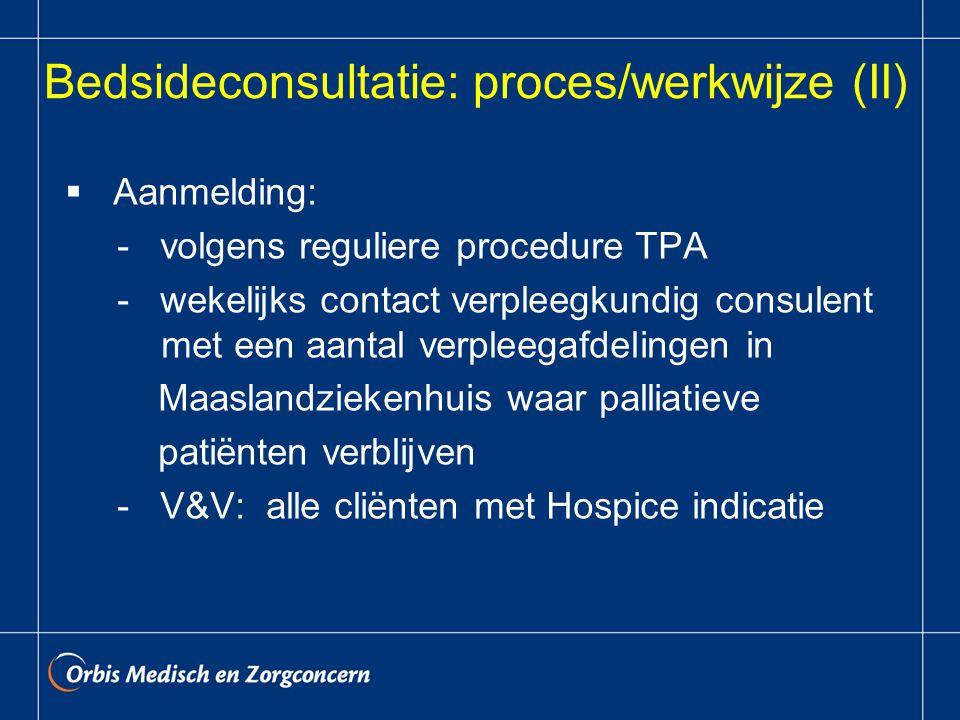 Bedsideconsultatie: proces/werkwijze (II)  Aanmelding: - volgens reguliere procedure TPA - wekelijks contact verpleegkundig consulent met een aantal verpleegafdelingen in Maaslandziekenhuis waar palliatieve patiënten verblijven - V&V: alle cliënten met Hospice indicatie