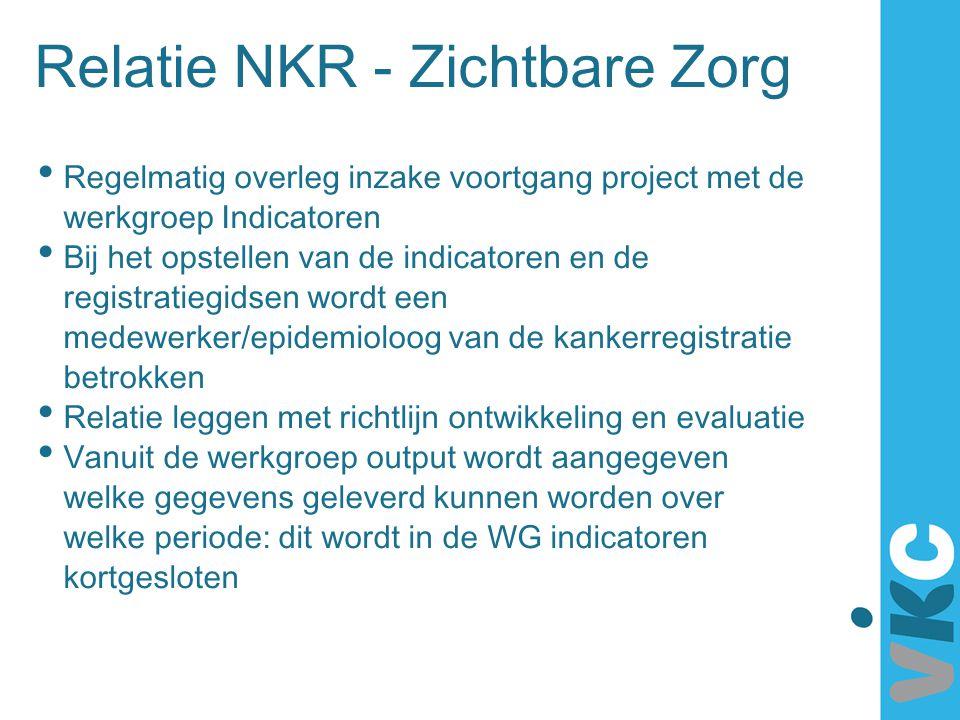 Relatie NKR - Zichtbare Zorg Regelmatig overleg inzake voortgang project met de werkgroep Indicatoren Bij het opstellen van de indicatoren en de regis