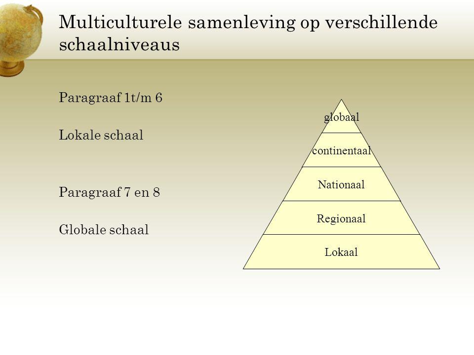 Multiculturele samenleving op verschillende schaalniveaus Paragraaf 1t/m 6 Lokale schaal Paragraaf 7 en 8 Globale schaal globaal continentaal Nationaa