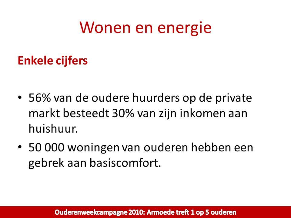 Wonen en energie Enkele cijfers 56% van de oudere huurders op de private markt besteedt 30% van zijn inkomen aan huishuur. 50 000 woningen van ouderen