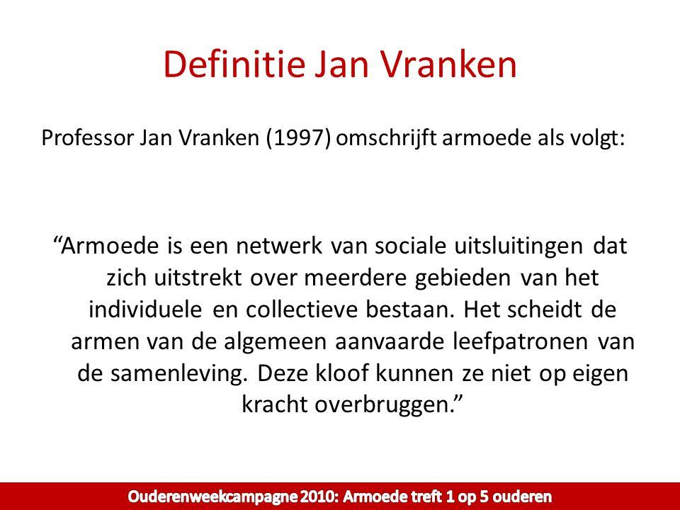 """Definitie Jan Vranken Professor Jan Vranken (1997) omschrijft armoede als volgt: """"Armoede is een netwerk van sociale uitsluitingen dat zich uitstrekt"""