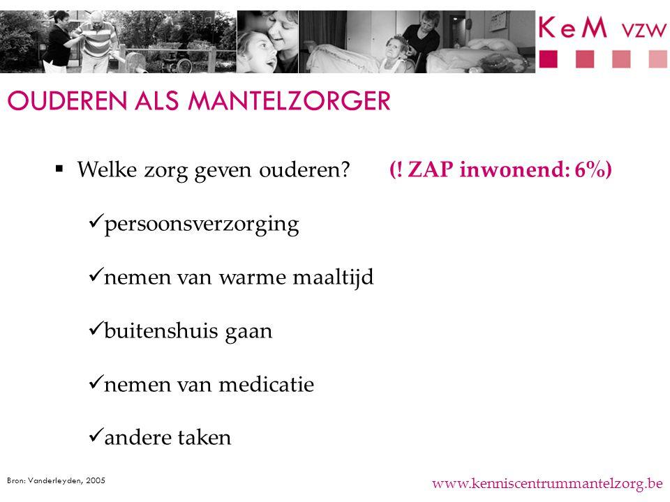 OUDEREN ALS MANTELZORGER www.kenniscentrummantelzorg.be  Welke zorg geven ouderen? (! ZAP inwonend: 6%) persoonsverzorging nemen van warme maaltijd b