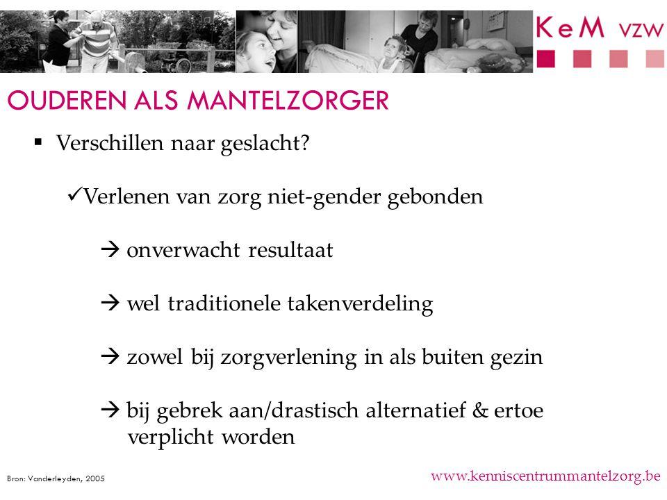 OUDEREN ALS MANTELZORGER www.kenniscentrummantelzorg.be  Verschillen naar geslacht? Verlenen van zorg niet-gender gebonden  onverwacht resultaat  w
