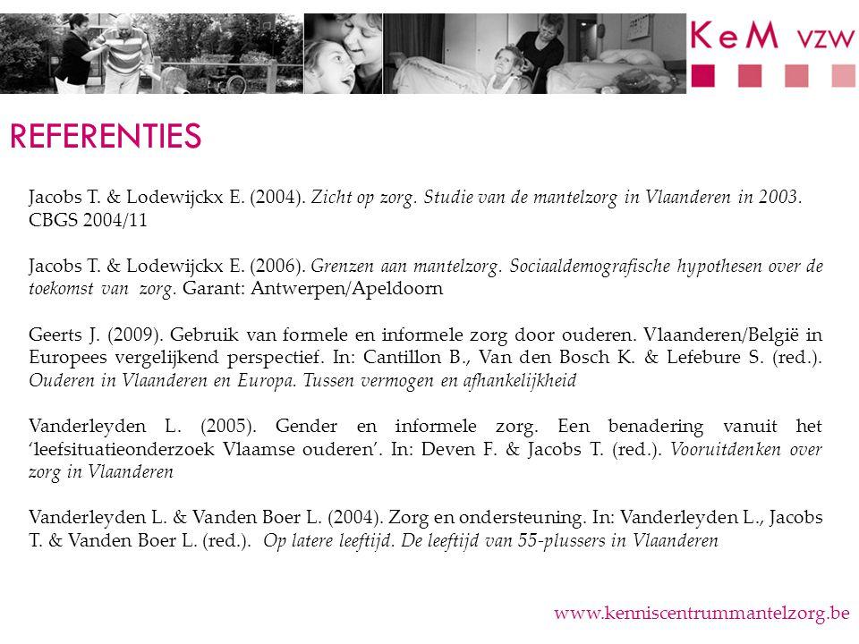 REFERENTIES www.kenniscentrummantelzorg.be Jacobs T. & Lodewijckx E. (2004). Zicht op zorg. Studie van de mantelzorg in Vlaanderen in 2003. CBGS 2004/
