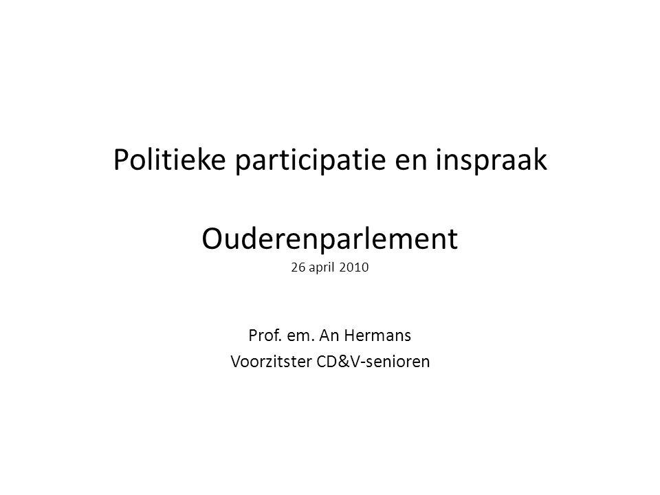 Politieke participatie en inspraak Achtergronden:  wetenschappelijk onderzoek o.a.: De Bruyn, Els (red.) (2004) Ouderen en politiek.