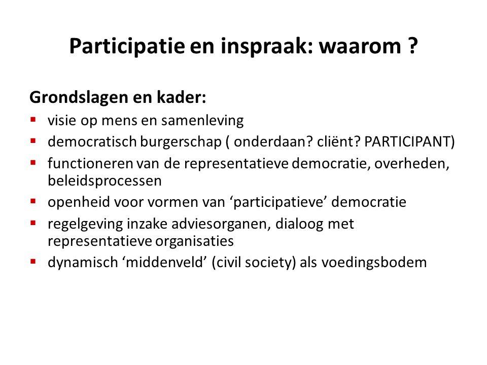 Participatie en inspraak: waarom ? Grondslagen en kader:  visie op mens en samenleving  democratisch burgerschap ( onderdaan? cliënt? PARTICIPANT) 
