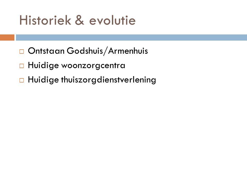 Historiek & evolutie  Ontstaan Godshuis/Armenhuis  Huidige woonzorgcentra  Huidige thuiszorgdienstverlening