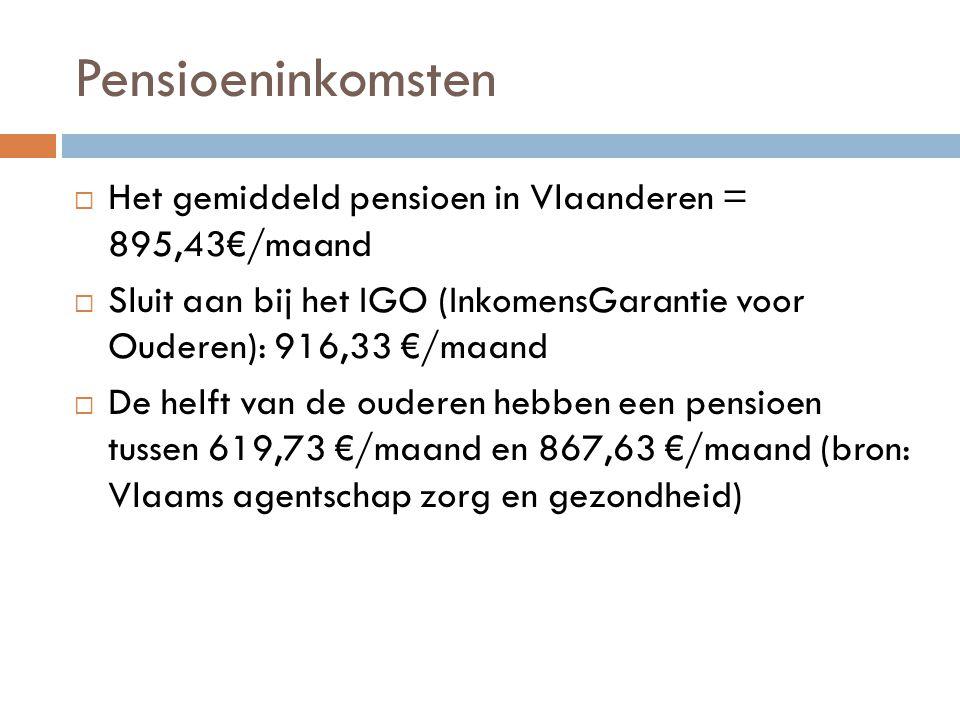 Pensioeninkomsten  Het gemiddeld pensioen in Vlaanderen = 895,43€/maand  Sluit aan bij het IGO (InkomensGarantie voor Ouderen): 916,33 €/maand  De helft van de ouderen hebben een pensioen tussen 619,73 €/maand en 867,63 €/maand (bron: Vlaams agentschap zorg en gezondheid)