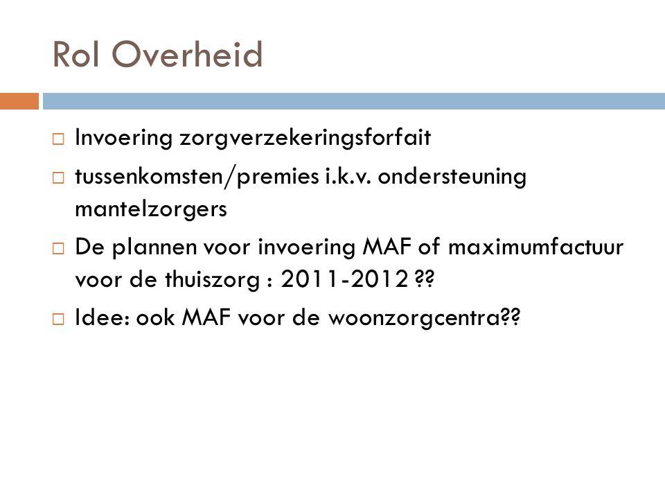 Rol Overheid  Invoering zorgverzekeringsforfait  tussenkomsten/premies i.k.v. ondersteuning mantelzorgers  De plannen voor invoering MAF of maximum