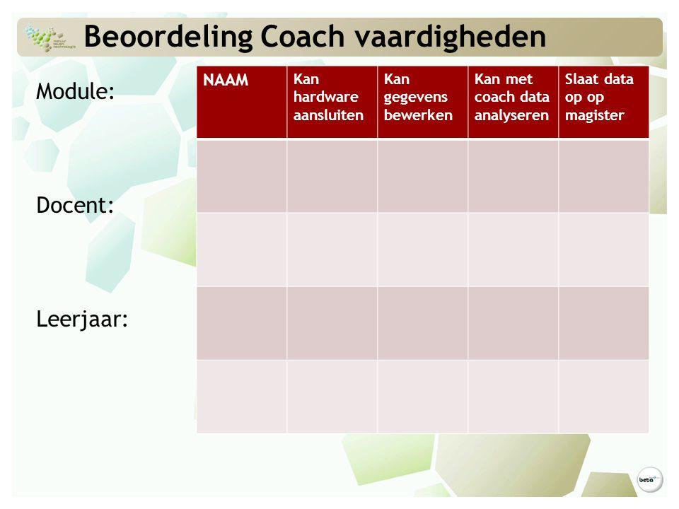 Beoordeling Coach vaardigheden Module: Docent: Leerjaar: NAAM Kan hardware aansluiten Kan gegevens bewerken Kan met coach data analyseren Slaat data o