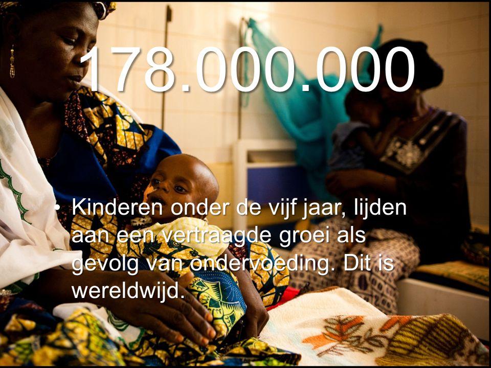178.000.000 Kinderen onder de vijf jaar, lijden aan een vertraagde groei als gevolg van ondervoeding.