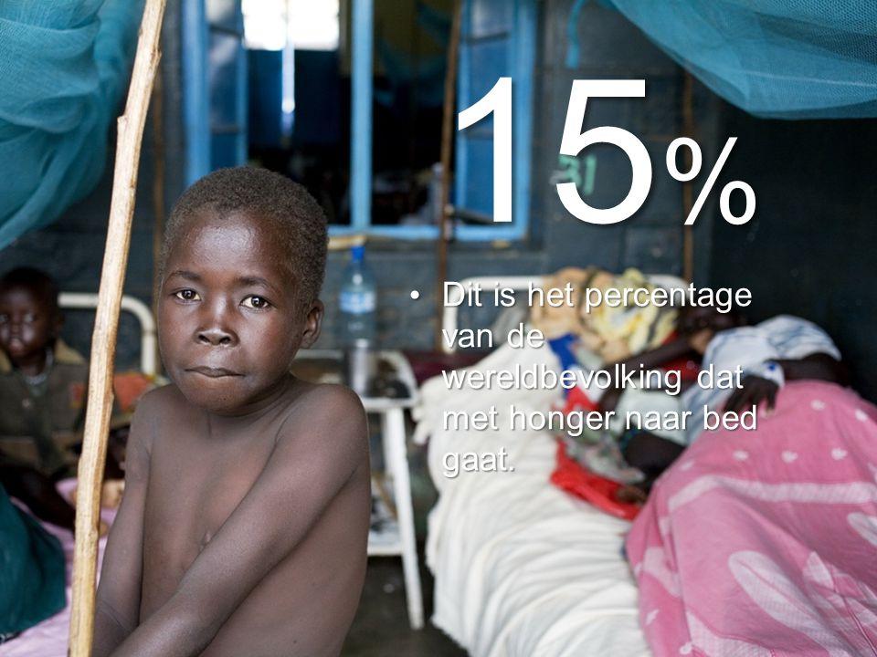 15 % Dit is het percentage van de wereldbevolking dat met honger naar bed gaat.