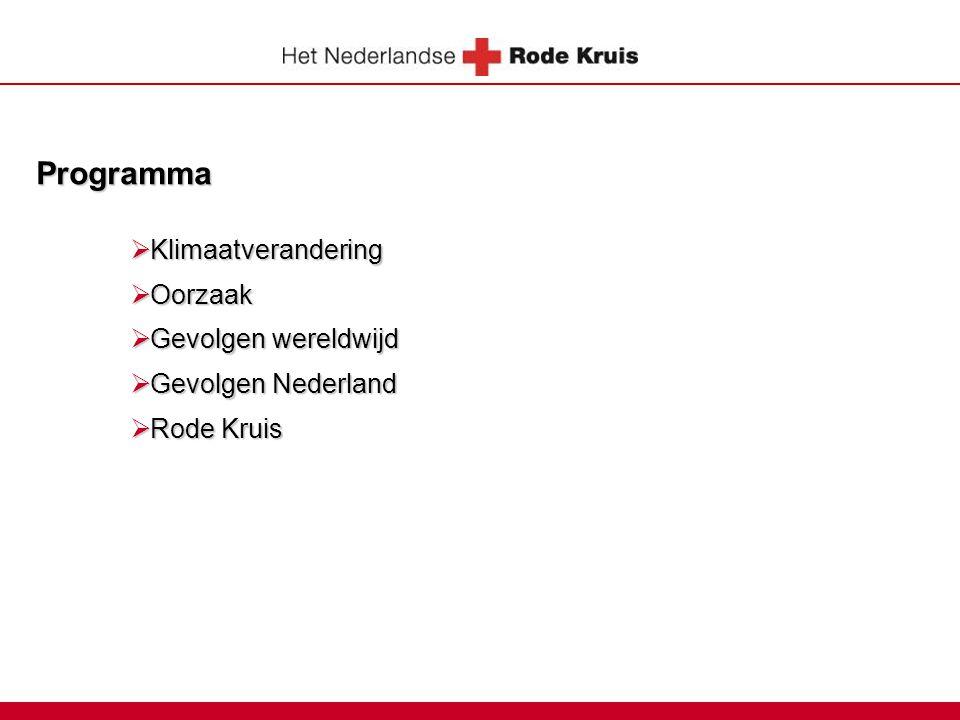 Programma  Klimaatverandering  Oorzaak  Gevolgen wereldwijd  Gevolgen Nederland  Rode Kruis