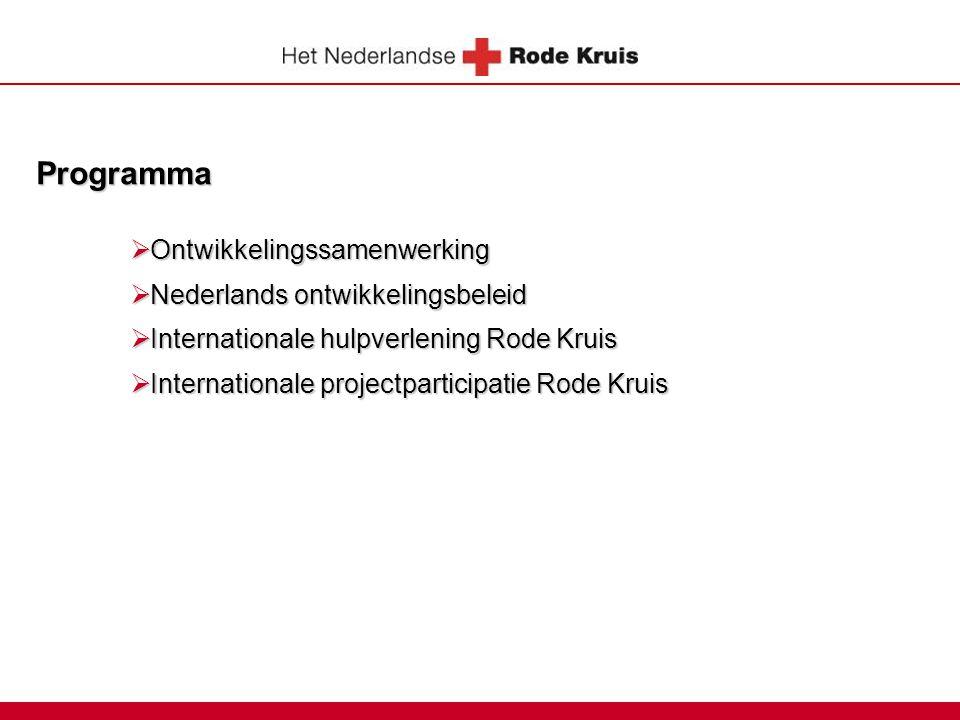 Programma  Ontwikkelingssamenwerking  Nederlands ontwikkelingsbeleid  Internationale hulpverlening Rode Kruis  Internationale projectparticipatie
