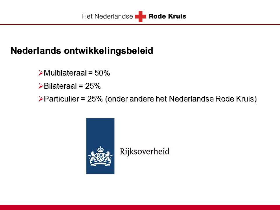 Nederlands ontwikkelingsbeleid  Multilateraal = 50%  Bilateraal = 25%  Particulier = 25% (onder andere het Nederlandse Rode Kruis)
